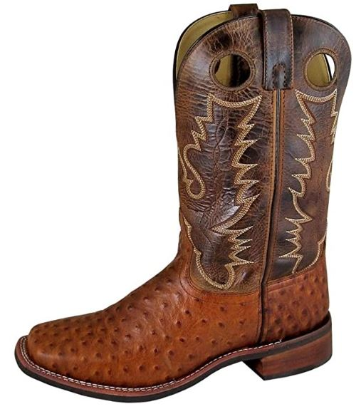 Smoky Mountain Men's Danville Pull On Stitched Textured Square Toe Cognac/Brown Crackle Boots 13EE
