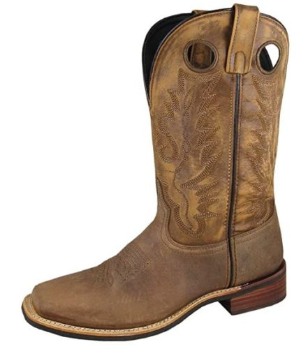 Smoky Mountain Men's Timber Pull On Closure Stitched Design Square Toe Brown Distress Boots 10D