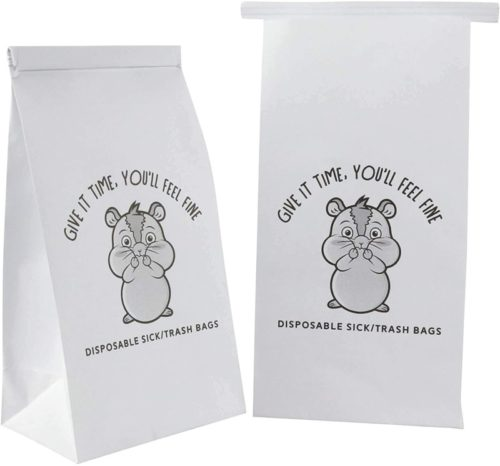 50 Vomit Bags. Disposable Leak Resistant Sick / Barf Bags with a Cute Emoji. Bulk Vomiting / Throw up Bags for Car Sick Kids, Airline Travel Motion & Morning Sickness, Uber Lyft Drivers, Pregnancy
