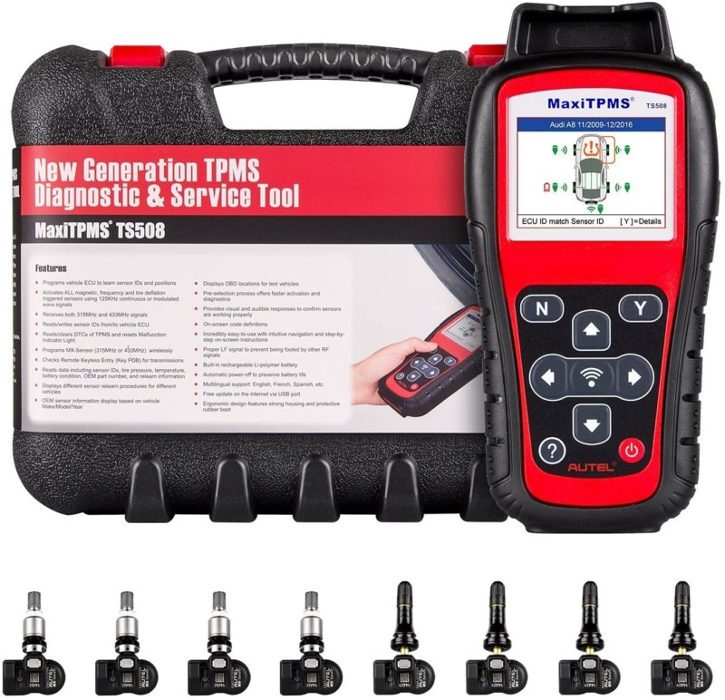 Autel MaxiTPMS TS508 Relearn Tool for TPMS Programming, TPMS Reset, Sensor Activation, Key Fob Testing, Relearn by OBD, Tire Type/Pressure Selection, with 8pcs MX-Sensors, Update Version of TS408