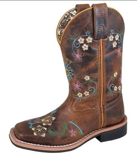 Smoky Children's Kid's Floralie Brown Leather Western Cowboy Boot