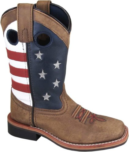 Smoky Mountain Boys' Stars and Stripes Western Boot Square Toe
