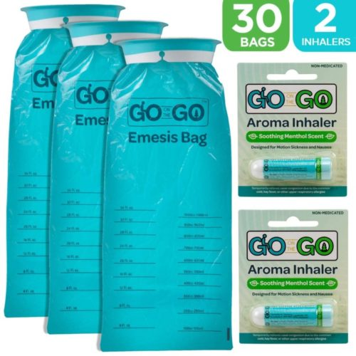 Disposable Emesis Vomit Bags with Aromatherapy Inhalers by Go on the Go - for Morning Sickness and Nausea Relief - 30 Vomit Bags and 2 Inhalers, Great for Medical, Home, Travel, Car, Plane and Boat