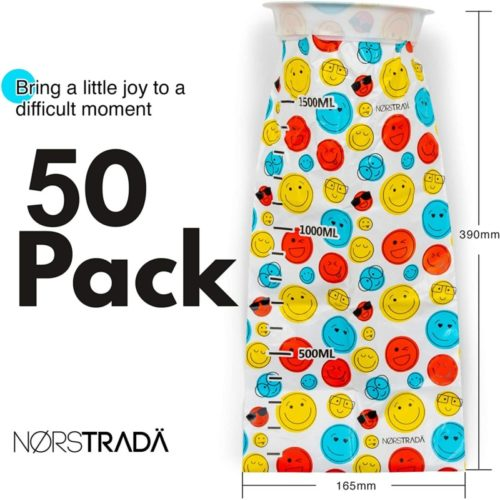 Disposable Vomit Bags- 50 Pack Face Design, Travel Motion Sickness, Throw Up Emesis Bag, Large 1500mL, Sealable Car Sickness Bags for Kids, Adults, Pregnancy or Medical.