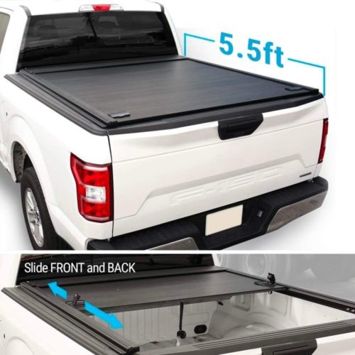 Syneticusa Aluminum Retractable Low Profile Waterproof Tonneau Cover for 2004-2021 F-150 F150 5.5ft Short Truck Bed