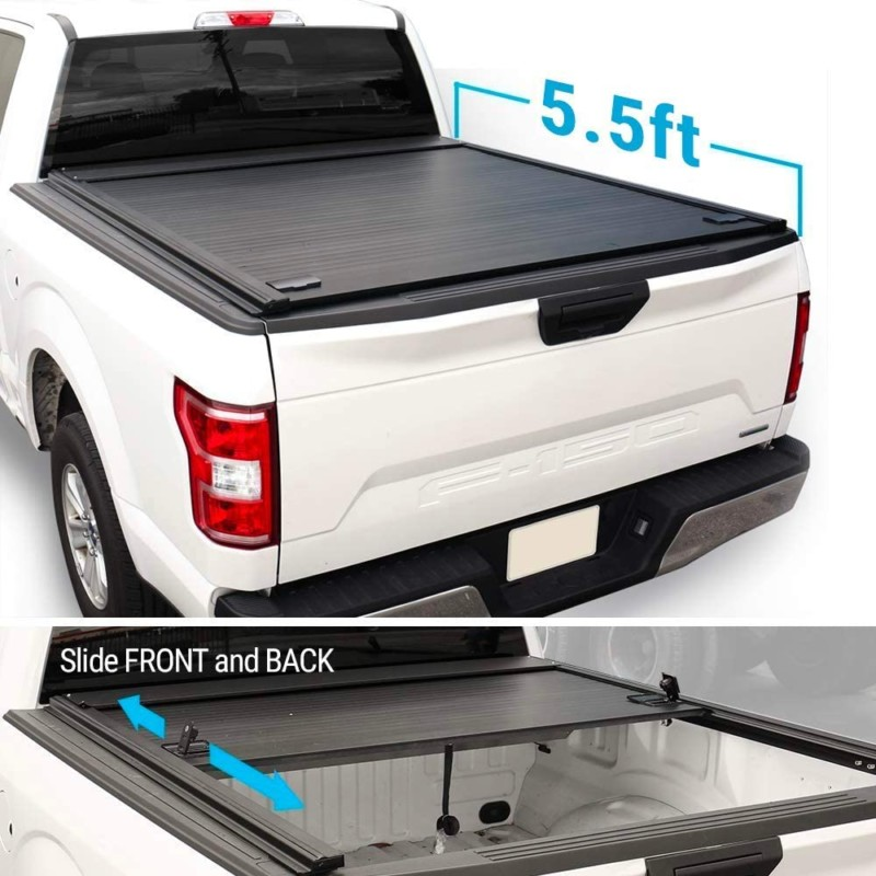 Syneticusa Aluminum Retractable Low Profile Waterproof Tonneau Cover for 2004-2020 F-150 F150 5.5ft Short Truck Bed