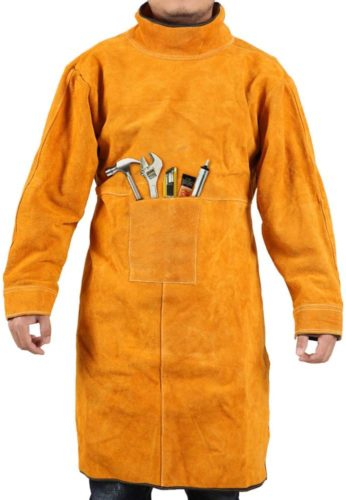 Gotega Welding Jacket Leather Welding Apron Heat & Flame-Resistant Heavy-Duty Work Apron/Anti-scald Flame Resistant Welding Coat for Welder/Men L