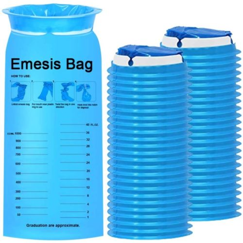 TNELTUEB 60 Pack Blue Emesis Bags, Disposable Vomit Bags Nausea Bags for Travel Motion Sickness & Morning Sickness, Aircraft&Car Sickness Bag, on The go use (1000ml)