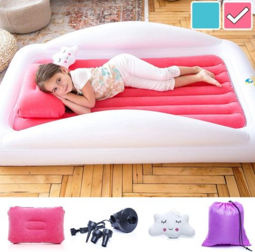 Sleepah Inflatable Toddler Travel Bed – Inflatable & Portable Bed Air Mattress Set –Blow up Mattress for Kids with High Safety Bed Rails. Set Includes Pump, Case, Pillow & Plush Toy (Coral)