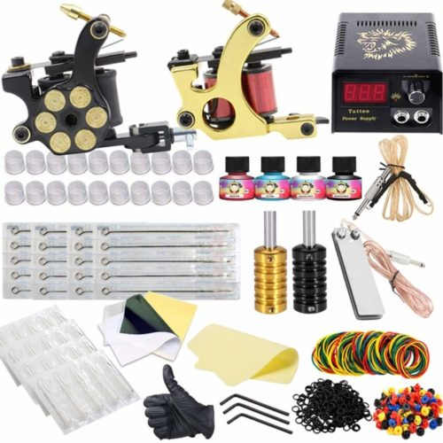 Coil Tattoo Machine Kit, Tazay Complete Tattoo Kit Set 2 Tattoo Machine with Power Supply Foot Pedal 20 Tattoo Needles Grips Tips Tattoo Machine Parts for Shading and Lining Beginner Tattoo Supplies