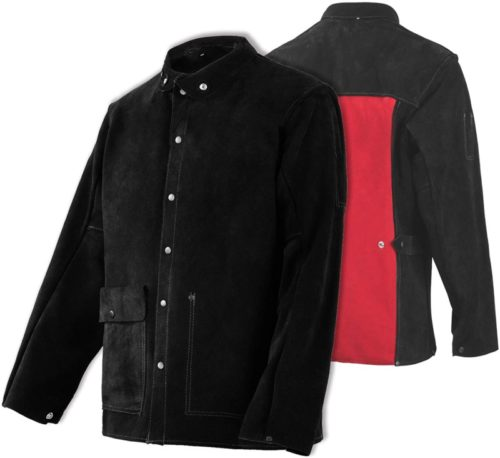 Leather Welding Jacket - Heat & Flame-Resistant Heavy Duty Split Cowhide Leather FR Work Safety Jacket, Black (Medium)