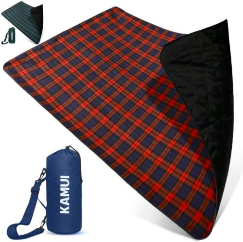 KAMUI-Outdoor-Waterproof-Blanket-Machine-Washable-Stadium-Blanket-Waterproof-and-Windproof-Backing-Portable-Shoulder-Hand-Strap-Great-for-Festival-Park-Beach-Ground-Blanket-79X55inch-201X140cm