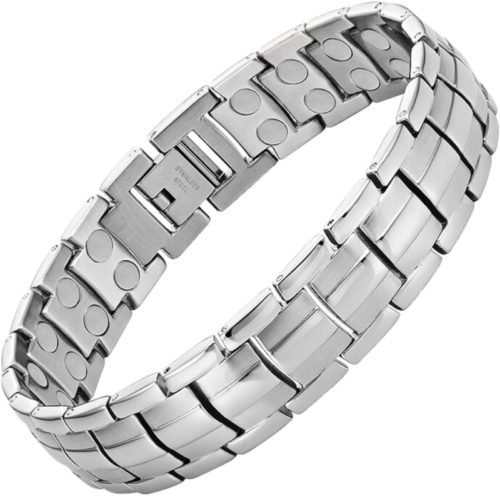 MagnetRX-Ultra-Strength-Magnetic-Therapy-Bracelet-Arthritis-Pain-Relief-and-Carpal-Tunnel-Magnetic-Bracelets-for-Men-Adjustable-with-Gift-Box-Silver