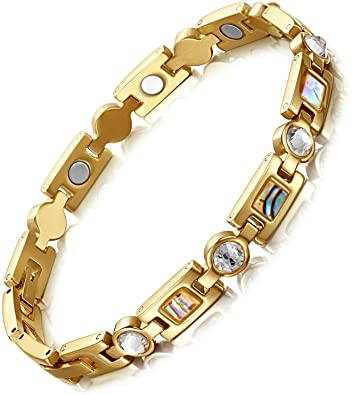 Rainso-Titanium-Steel-Rhinestone-Health-Golf-Magnetic-Therapy-Bracelets-for-Women-with-3-Smart-Buckle
