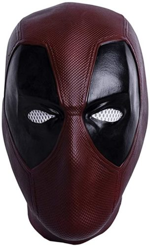 Superhero DP Mask Dark Red Latex Mask Halloween Cosplay Costume Mask for Unisex Adult