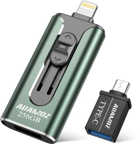 iPhone-Flash-Drive-256GB-iPhone-Photo-Stick-AUAMOZ-iPhone-USB-3.0-Memory-Photo-Stick-for-iPhone-11-Pro-X-XR-XS-MAX-iPhone-Flash-Drive-with-4-Ports-Ready-for-iPhone-iPad-Android-Computer-Dark-Green