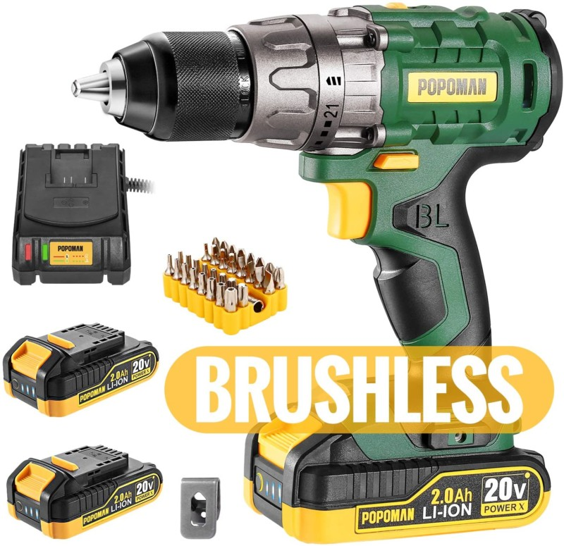 #7. TECCPO Brushless Drills with LED