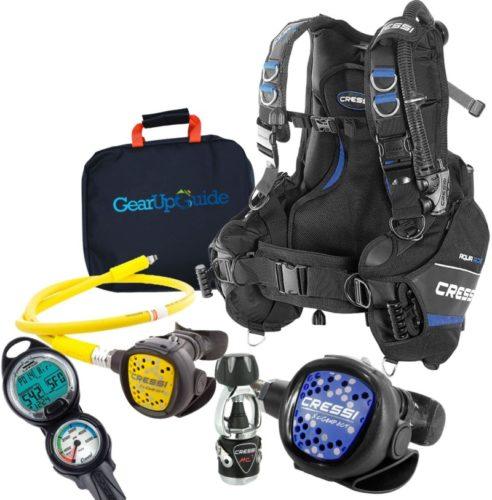Cressi Aquaride Blue Pro BCD Scuba Gear Package w/ MC9 Compact Regulator & Octo Leonardo C2 Dive Computer w/GupG Reg Bag