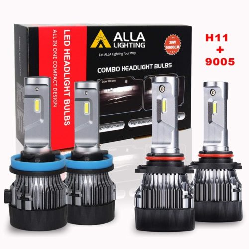 ALLA Lighting S-HCR H11 9005 LED Headlight Bulbs Combo Kits Extreme Super Bright High Beam and Low Beam Replacement for Cars, Trucks, Xenon White (4 Packs, 2 Sets)