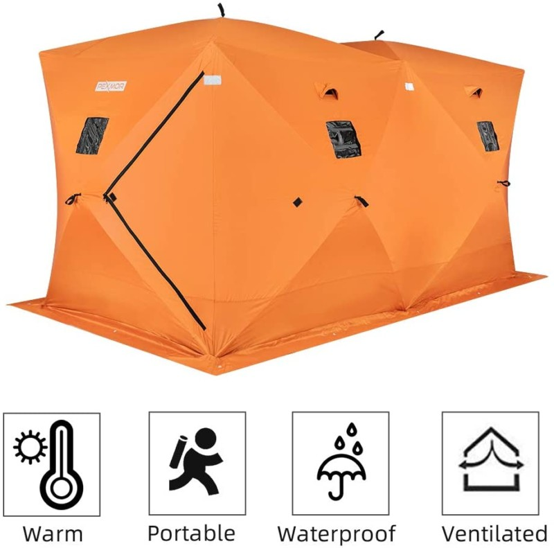 PEXMOR Ice Fishing Shelter, Pop-up Hub-Style for 2-3 Person, w/Portable Carrying Bag, Detachable Ventilated Windows, Zippered Door, Waterproof Oxford Fabric