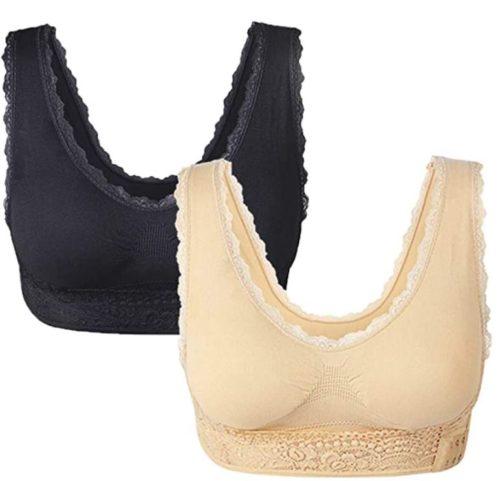 Women Seamless Lace Sports Bras Cross Front Side Buckle Yoga Workout Activewear Lounge Bra,2 Pack