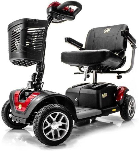 BUZZAROUND EX Extreme 4-Wheel Heavy Duty Long Range Travel Scooter, Red, 18-Inch Seat