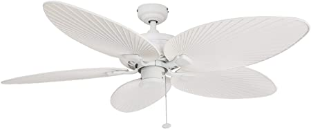 "Honeywell Ceiling Fans 50200 Palm Island Tropical Indoor/Outdoor Ceiling Fan, 52"", White"