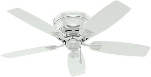 Hunter Fan Company 53119 Etl Damp Listed, White Ceiling Fan With Five Plastic Blades, 48""