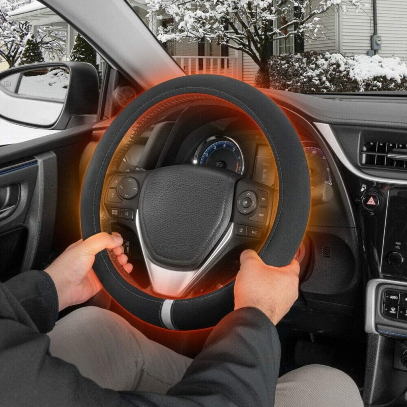 Motor Trend Heated Steering Wheel Cover - Warmer/Heater for Standard Size Steering Wheels (14.5 15 15.5) in (Gray)