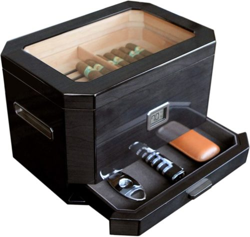 Octodor-Large-Black-Piano-Finish-Glass-Top-Cedar-Humidor-with-Digital-Hygrometer-Humidification-System-and-Accessory-Drawer-Holds-50-100-Cigars-by-Case-Elegance