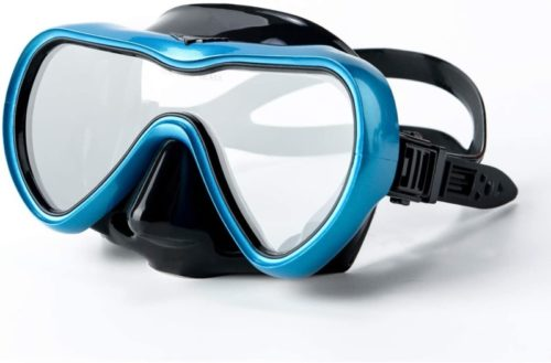 Rongbenyuan Dry Top Snorkel Set - Diving Mask and Snorkel Swimming Goggles with Nose Cover 180° Panoramic Wide View Anti-Fog No-Leak