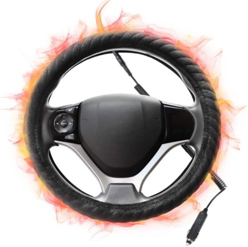 SEG Direct Heated Steering Wheel Cover Small-Size for Prius Civic Camaro Spark Rogue Mini Smart Audi with 14inches-14.25inches Outer Diameter, 12V Quick Heating Black Velour with Coiled Cord .jpg