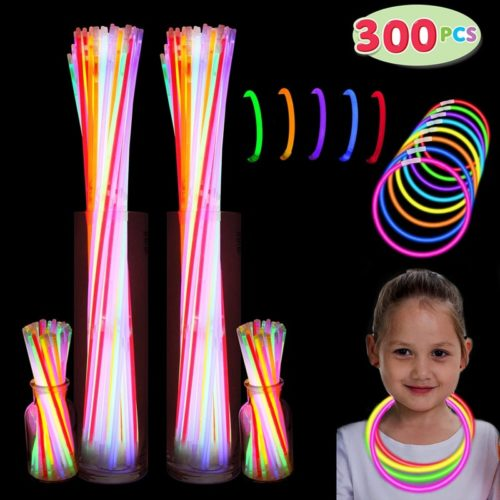 """300 Pack Glow Sticks with 100 22"""" Necklaces + 200 8"""" Bracelets Connector Included; Glow in The Dark Halloween Party Bulk Supplies, Neon Light Up Accessories for 4th of July & Independent Day"""