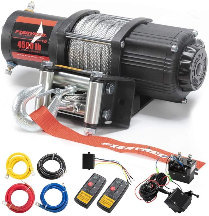FIERYRED 12V 4500LBS Electric Steel Cable ATV Winch Kits for Towing ATV/UTV Off Road Trailer with Wireless Remote Control Mounting Bracket, 1 Year Warranty