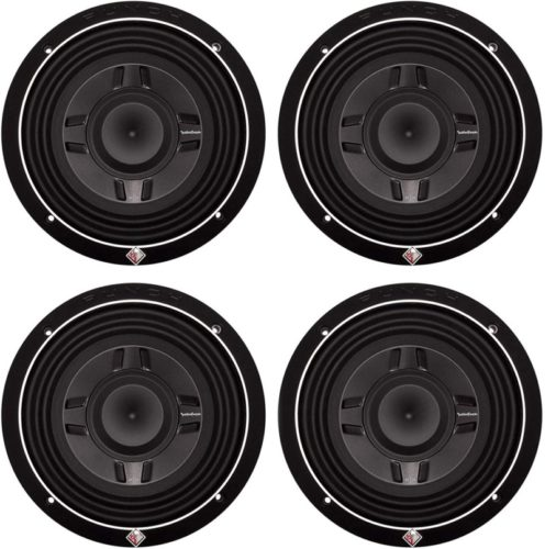 "Rockford Fosgate 8"" 300W Car Audio Shallow Mount 4 Ohm DVC Subwoofer (4 Pack)"