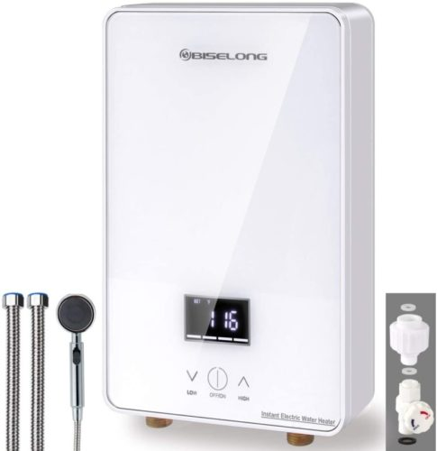 220~240V Tankless Water Heater Electric Hot Water Heater under sink Kitchen Household, Compact Instant No Standby Losses, Digital Display, Shower Head/Water Valve/Pipe 2Gallon/Minute 1.8GPM 6.5 KW