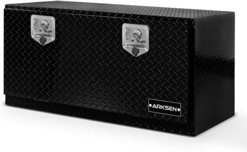 "ARKSEN 36"" Durable Aluminum Diamond Plate Tool Box With T-Handle Latch Pickup Truck Underbody Trailer Storage, Black"