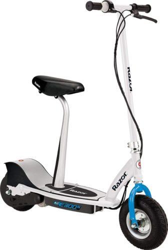 Razor E300S Seated Electric Scooter - White/Blue - FFP