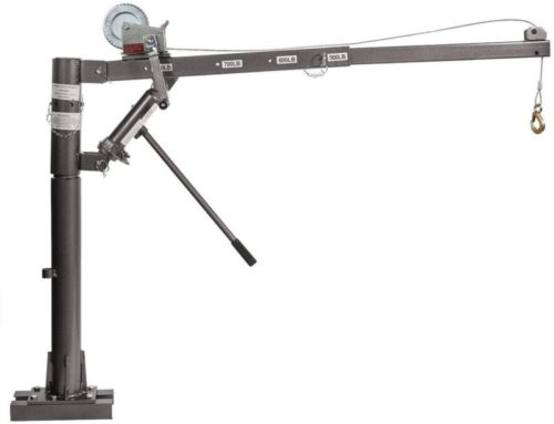 9TRADING 1/2Ton Hydraulic Mounted Crane with Cable Winch Pickup Truck Lift Push 1100 Lb.