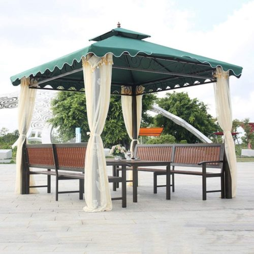 Garden Gazebo, Double Top Tent Courtyard Outdoor Awning Outdoor Leisure Furniture for Villa Courtyard Sunshine Board Pavilion Terrace with Table and Chair Set