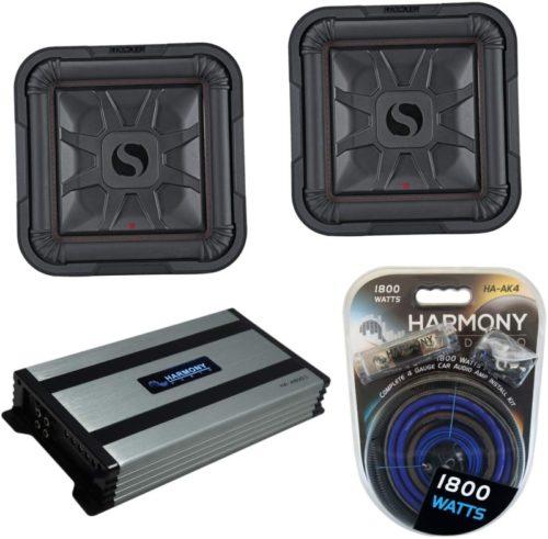 """Kicker (2) 46L7T122 Car Audio L7T Shallow Mount 12"""" Sub Square L7 Subwoofer L7T12 Bundle with Harmony HA-A800.1 Amplifier & Amp Kit"""