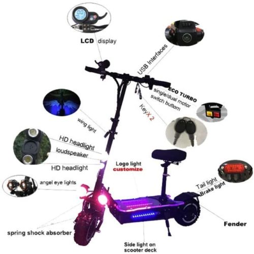 HTL 3200W Dual Motor Powerful Two Wheel 11 inch Fat Tire Off Road Electric Scooter with Removable Seat