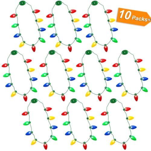 CPPSLEE Christmas Light Up Bulb Necklace - Ugly Sweater Party Favor Necklace Light Supplies Accessories - Christmas Decorations Best Xmas Gift (10 Pack)