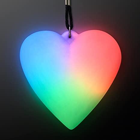 Color Change LED Heart Light Up Necklace (Set of 12)