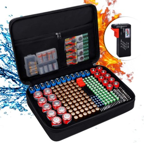 ENGPOW-Battery-OrganizerFireproof-Battery-Organizer-Storage-Case-with-Tester-BT168Waterproof-Explosionproof-Hard-Holder-Box-with-CoverHolds-220-AA-AAA-C-D-9V-Batteries