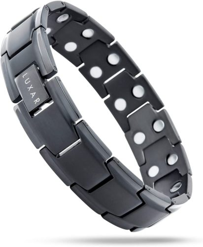 Mens-Titanium-Magnetic-Therapy-Linked-Bracelet-LUXAR-Double-Magnet-Strength-Designed-for-Arthritis-Tendonitis-Tennis-Golf-Elbow-Carpal-Tunnel-Syndrome-and-Physical-Pain-Relief-Brushed-Black