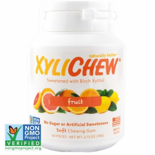 Xylichew 100% Xylitol Chewing Gum Jar - Non GMO, Gluten, Aspartame, and Sugar Free Gum - Natural Oral Care, Relieves Bad Breath and Dry Mouth - Fruit, 60 Count (Pack of 1)