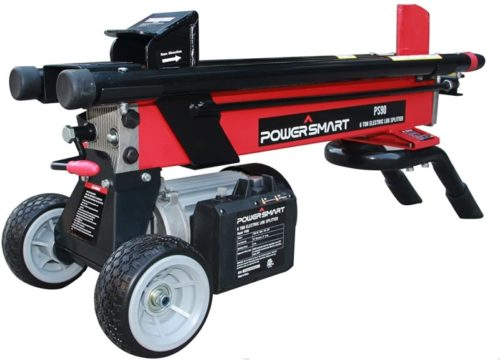 PowerSmart Log Splitter, PS90 6-Ton 15 Amp Electric Log Splitter, Standard Size power log splitter, Color Red and Black, PS90