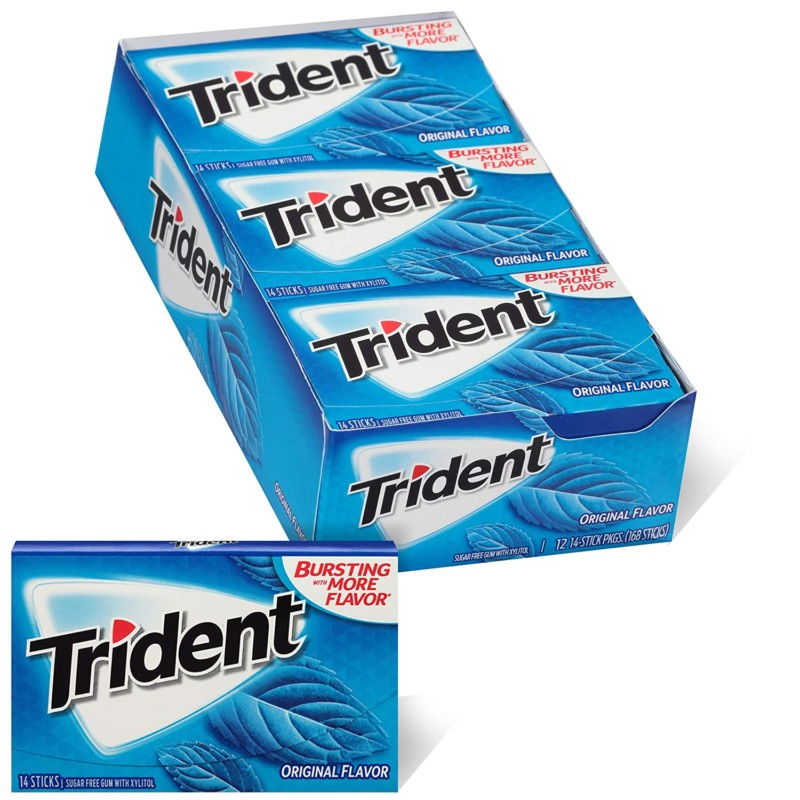 Trident Original Flavor Sugar Free Gum, 12 Packs of 14 Pieces (168 Total Pieces)