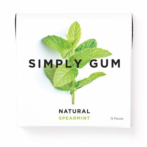 Simply Gum | Natural Chewing Gum | Spearmint | Pack of Six (90 Pieces Total) | Plastic Free + Aspartame Free + non GMO